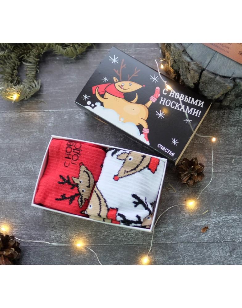 Носки новогодние с оленями