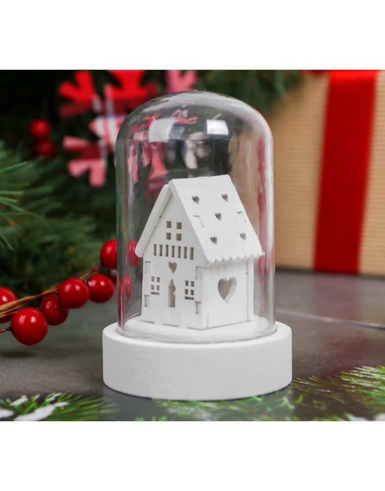 Новогодний сувенир с подсветкой «Зимний домик»